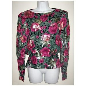 Awesome 80s Floral Print Metallic Evening Blouse S